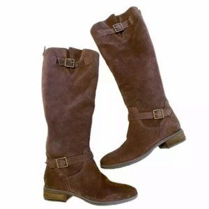 SAM EDELMAN Painter Brown Tall Suede Boots SZ 6